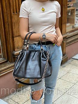 Жіноча шкіряна м'яка сумка торба на плече Polina & Eiterou Графітовий