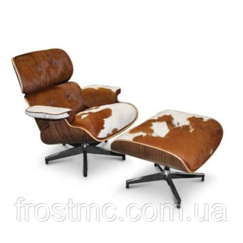 Крісло Eames Lounge Chair з підставкою Світлий горіх/ шкіра корова