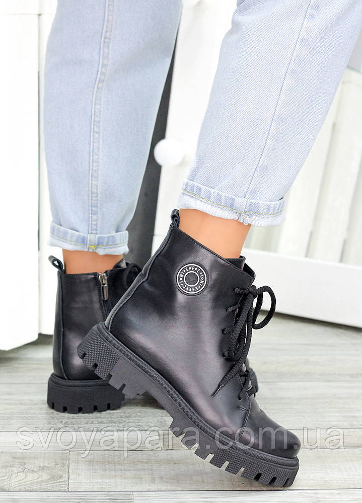 Ботинки на шнуровке черная кожа 7462-28
