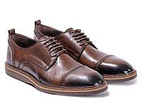 Коричневые кожаные туфли со шнуровкой