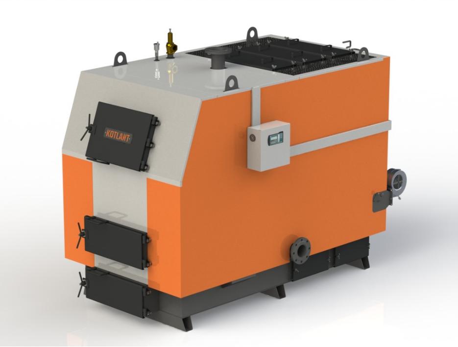 Промышленный котел на твердом топливе Kotlant КВ 350 кВт с электронной автоматикой и вентилятором