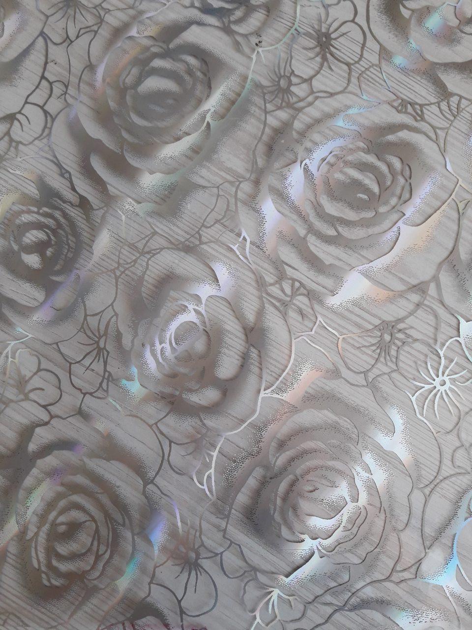 Мягкое стекло Силиконовая скатерть на стол Soft Glass 1.4х0.8м (Толщина 1.5мм) Серебристые розы
