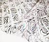 Мягкое стекло Силиконовая скатерть на стол Soft Glass 1.4х0.8м (Толщина 1.5мм) Серебристые розы, фото 7