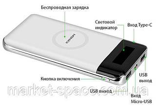 Внешний аккумулятор (IP80W) с беспроводной зарядкой. Power Bank Momax iPower Air. Цвет: Белый