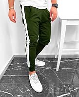 Спортивные штаны мужские с лампасами хаки осенние весенние ТОП качества, фото 1