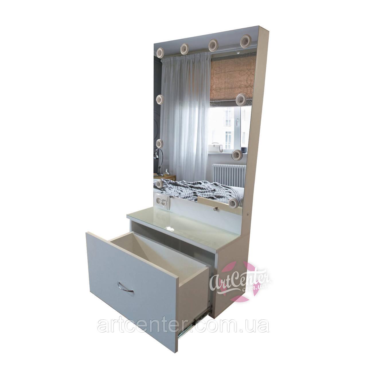 Навесной визажный стол с зеркалом