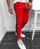 Спортивные штаны мужские с лампасами красно-черные осенние весенние ТОП качества, фото 1