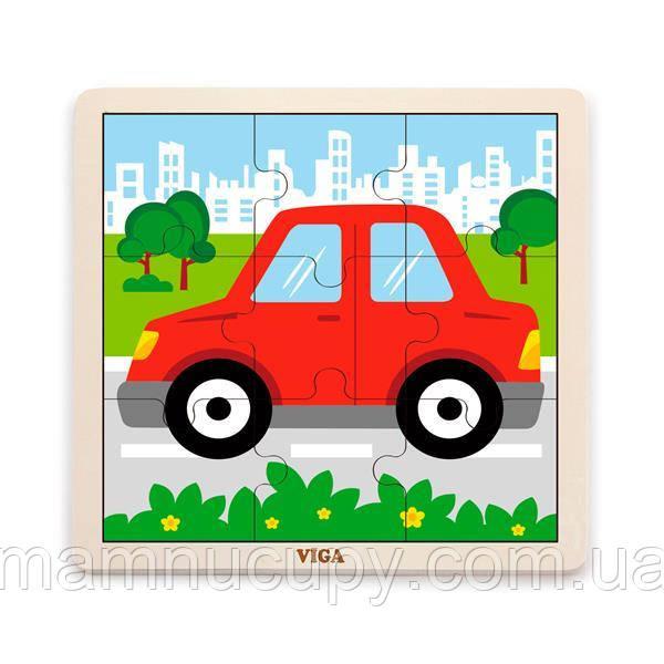 Деревянный пазл Viga Toys Машинка, 9 эл. (51444)