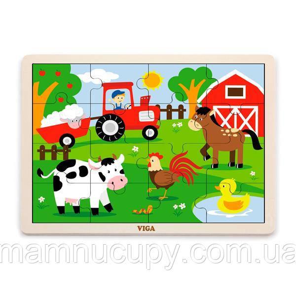 Дерев'яний пазл Viga Toys На фермі, 16 ел. (51448)