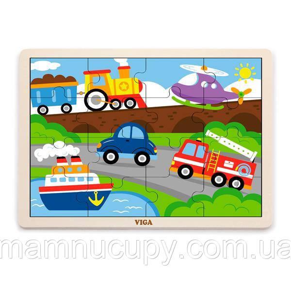 Дерев'яний пазл Viga Toys Транспорт, 16 ел. (51456)