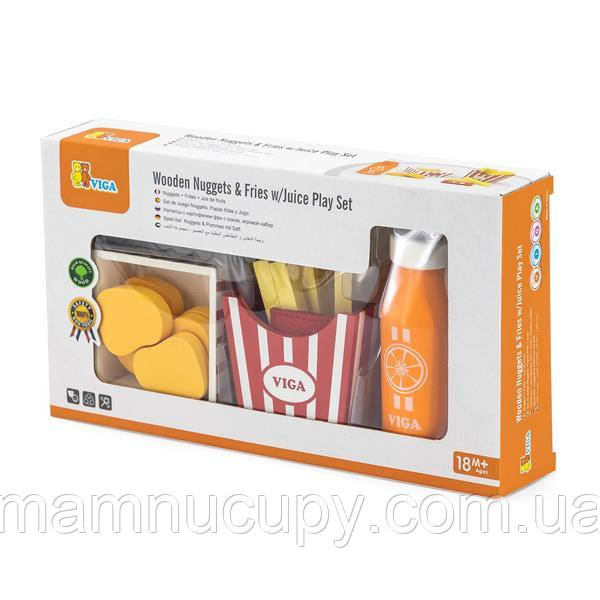 Игрушечные продукты Viga Toys Наггетсы с картошкой фри и соком (51603)
