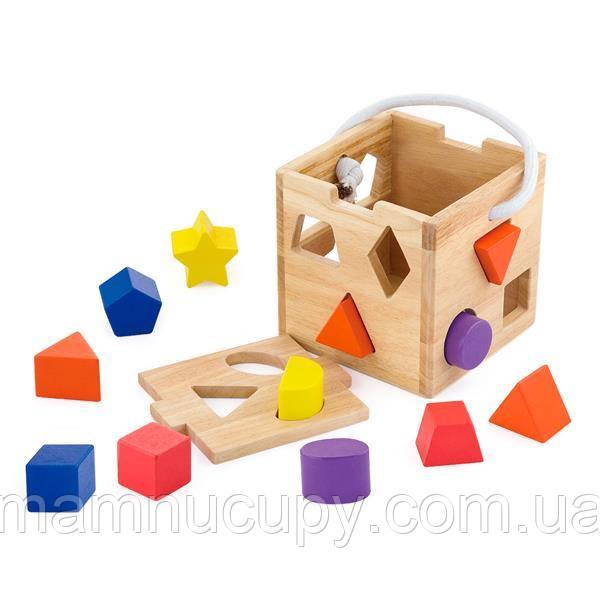 Деревянный сортер Viga Toys Кубик с фигурами (53659)