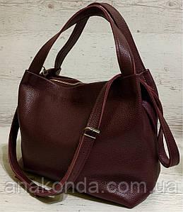 525-XL Натуральная кожа Сумка женская бордовая кожаная марсала женская сумка из натуральной кожи вместительная