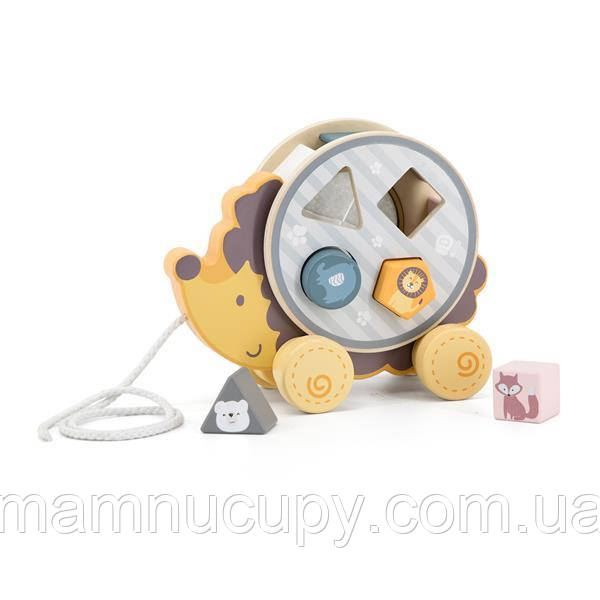 Деревянная каталка-сортер Viga Toys PolarB Ежик (44025)