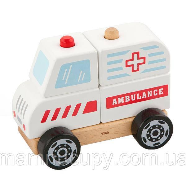 Дерев'яна пірамідка Viga Toys Viga Toys Машина швидкої допомоги (50204)
