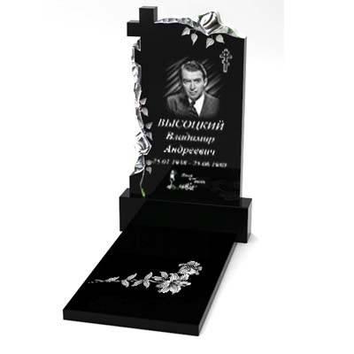 Гранитный памятник одинарный с надгробной плитой (100*50*5) Р-96, фото 2
