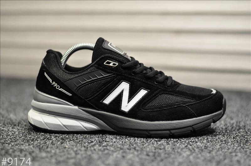 Чоловічі кросівки New Balance 990 Black White Чорні, Репліка