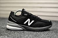Чоловічі кросівки New Balance 990 Black White Чорні, Репліка, фото 1