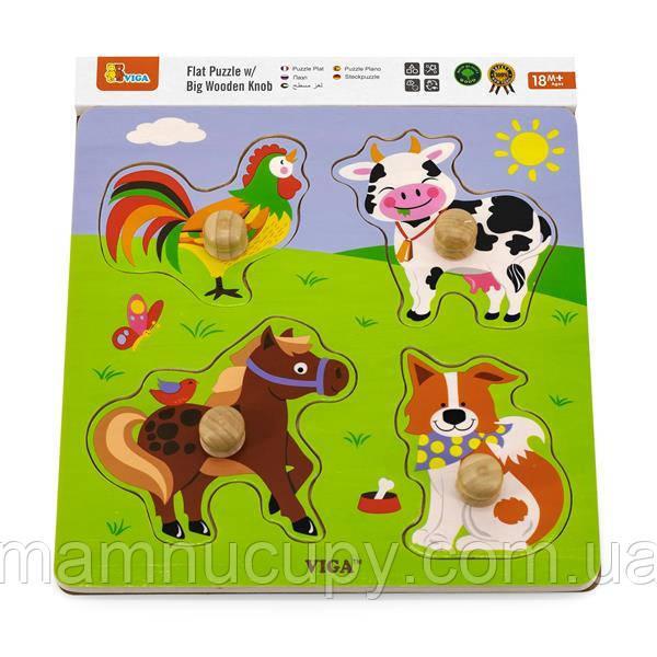 Деревянная рамка-вкладыш Viga Toys Зверята на ферме (50839)