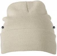 Вязаная шапка унисекс с отворотом бежевая 7500-ЗМ