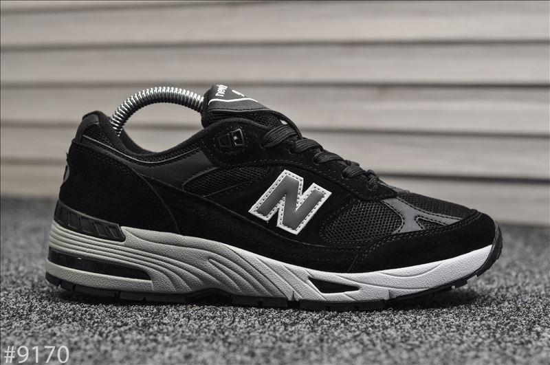 Мужские кроссовки New Balance 991 Black White Черные, Реплика