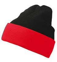 Вязаная шапка с отворотом комбинированная 7550-1