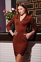 Однотонное женское платье с отложным воротником IR Лидер цвета: коричневый   чёрный   синий