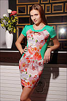 Яркое женское платье с цветочным принтом IR Орхидея цвета: зелёный   коралл