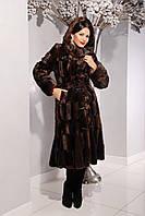 Женская искусственная Шуба  М-36 коричневая норка 42-46 размеры