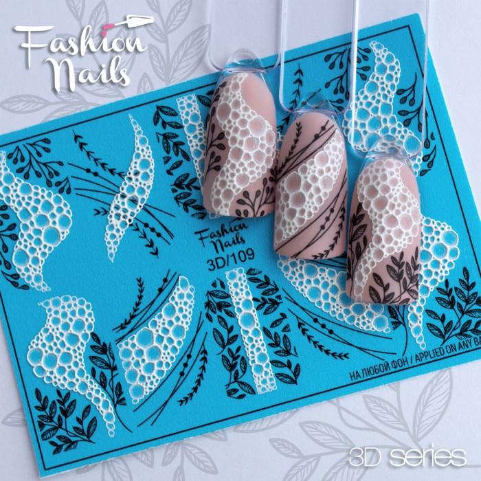 3d Чорно-білі слайдер дизайни Мильні бульбашки, Піна, бульки Fashion Nails 3D/109 - Слайдер дизайн 3D