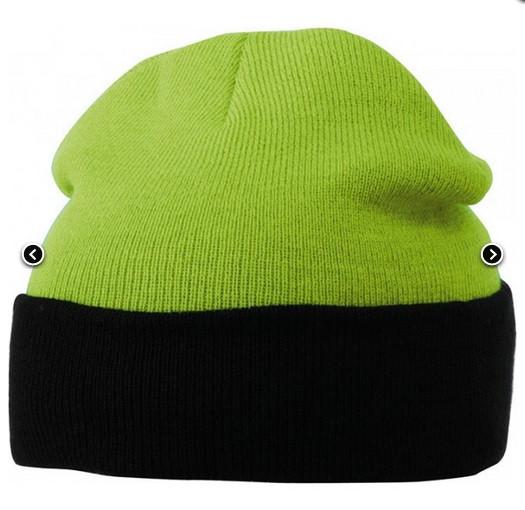 Вязаная шапка с отворотом комбинированная 7550-3