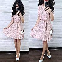 Потрясающее стильное платье, ткань лен, 42-44, 44-46 рр, цвет пудра принт цветок