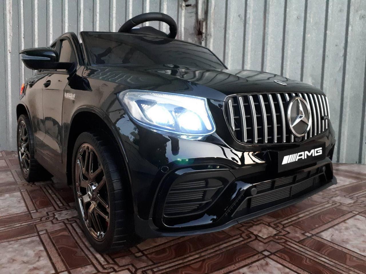 Дитячий електромобіль Джип Mercedes-Benz GLC 63S Coupe, Шкіряне сидіння, Автопокраска, чорний