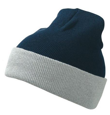 Вязаная шапка с отворотом комбинированная 7550-5