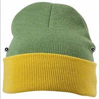 Вязаная шапка с отворотом комбинированная 7550-7