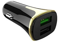 Автомобільний зарядний пристрій Hoco Z31 3.4A/ 2 USB + Type C black, фото 3