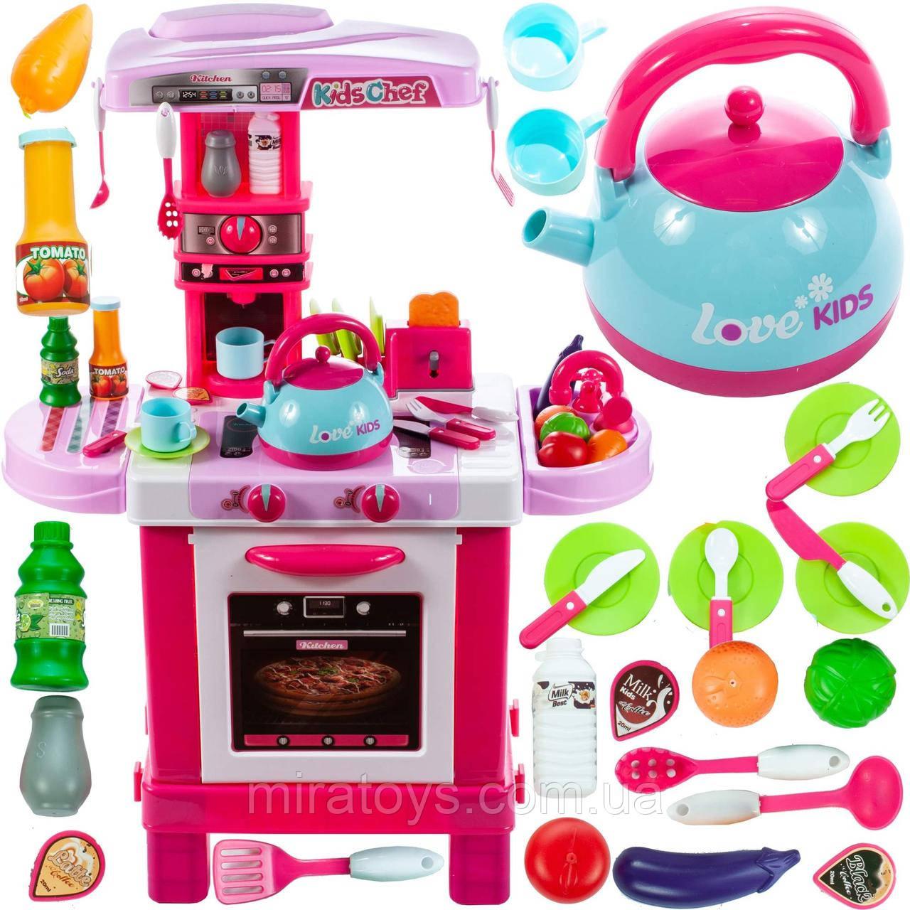 Дитяча ігрова Кухня 008-939 Малинова. Висота 87 см світло, звук, посуд, продукти
