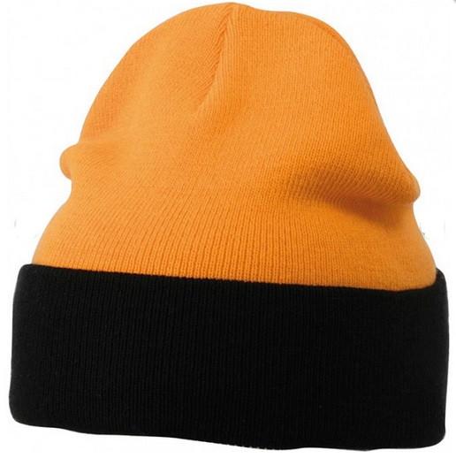 Вязаная шапка с отворотом комбинированная 7550-8
