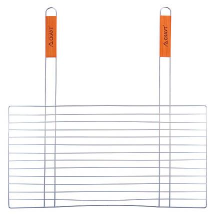 Решетка для гриля Скаут 58х30см с двумя деревянными ручками KM-0742, фото 2