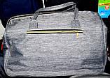 Женская синяя дорожная сумка на молнии с двумя ручками и ремешком 50*30 см, фото 4