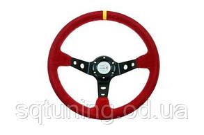 Спортивный руль Pro 350мм - Вынос: 80мм Замша Красный
