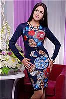 Красивое синее платье с принтом  IR Подиум
