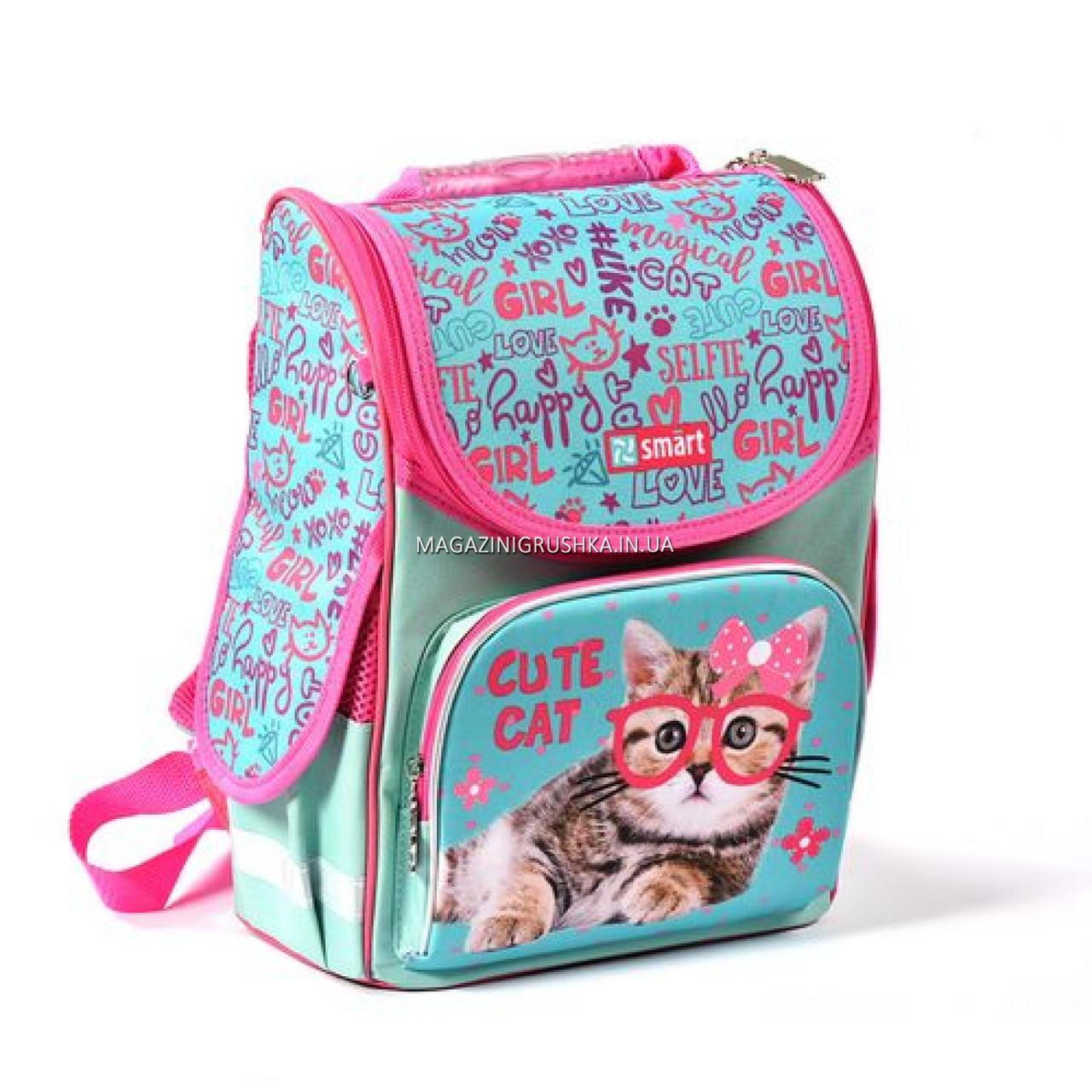 Рюкзак шкільний каркасний SMART Бірюзовий з рожевим (558052)