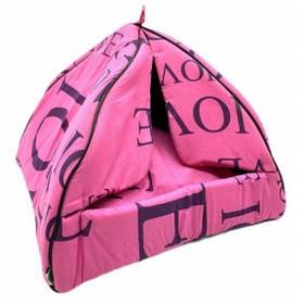 Домик для животных Пирамида 1 бязь с рбрами жесткости 363939см Розовая