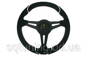 Спортивный руль Pro 350мм - Вынос: 50мм Замша Черный