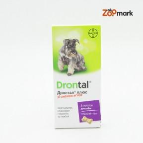 Дронтал плюс  антигельминтик для собак со вкусом мяса 6 таблеток, Байер