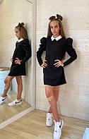 """Прямое школьное платье для девочки """"FORTA"""" с контрастным воротничком"""