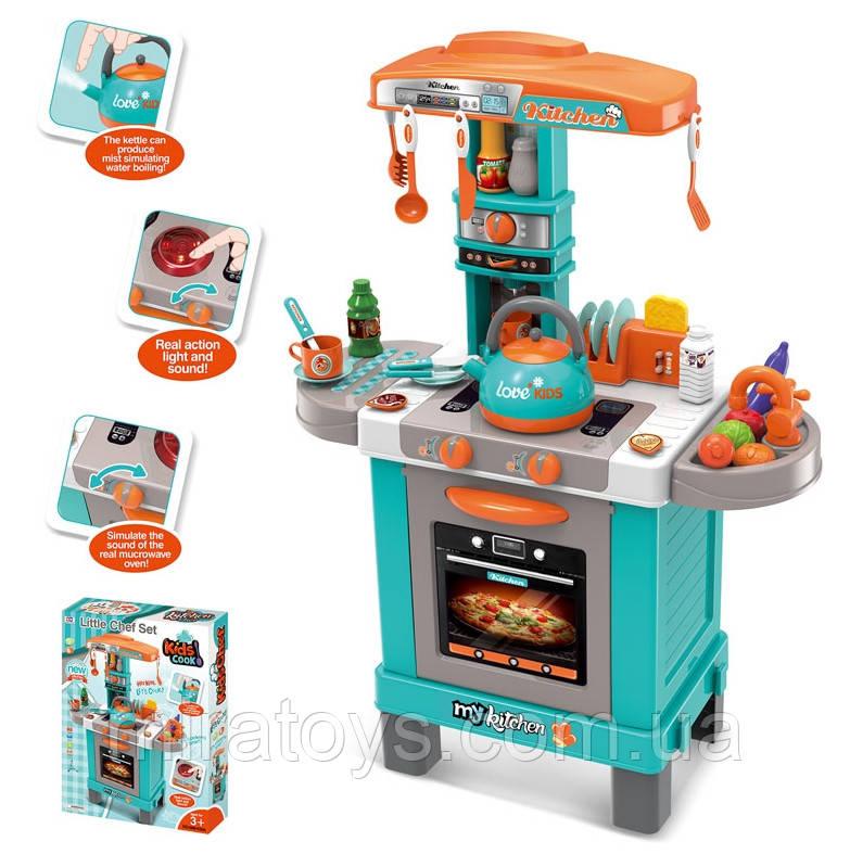 Дитяча ігрова Кухня 008-939А Бірюзова. Висота 87 см світло, звук, посуд, продукти