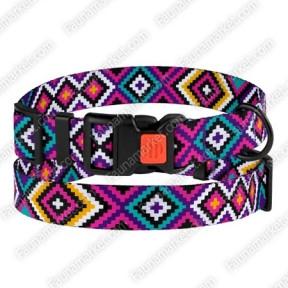 Ошейник Tribal для собак нейлоновый c пластиковой пряжкой Гуцульский Фиолетовый 25мм (43-66см)