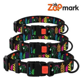 Ошейник Tribal для собак нейлоновый c пластиковой пряжкой Цветы Черный 25мм (35-45см)